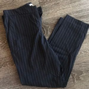Navy blue pinstriped work pants
